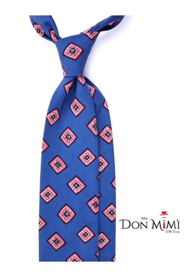 Cravatta 3 Pieghe FUTURA Seta madder - Blu elettrico
