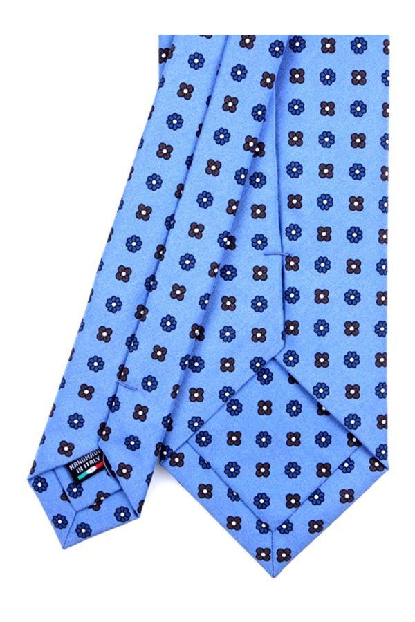 Cravatta 3 Pieghe CARACAS Seta madder - Celeste