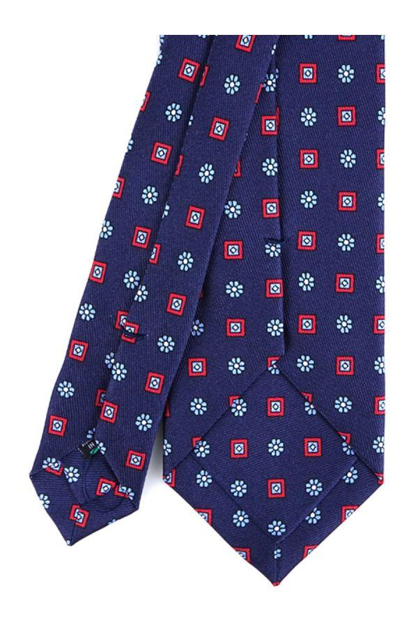 Cravatta 3 Pieghe ELEGANZA in seta lusso - Blu Scuro