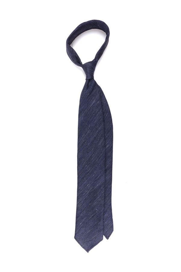 Cravatta 3 Pieghe sfoderata CARPET in seta/cotone - Blu