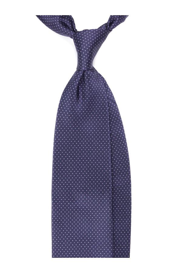 Cravatta 3 Pieghe MANCHESTER in seta lusso stampata-Blu Scuro/Rosa