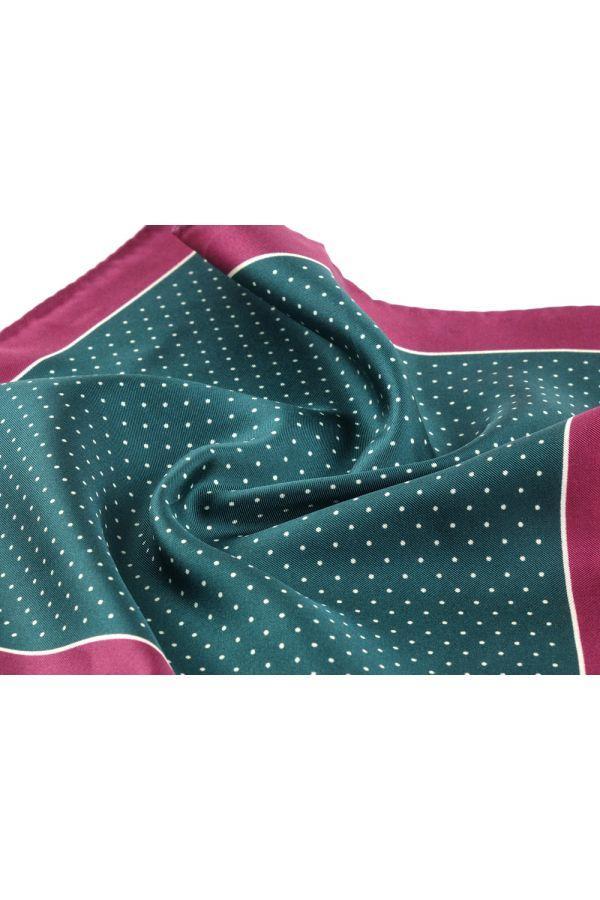 Printed silk pocket square DOT - Green