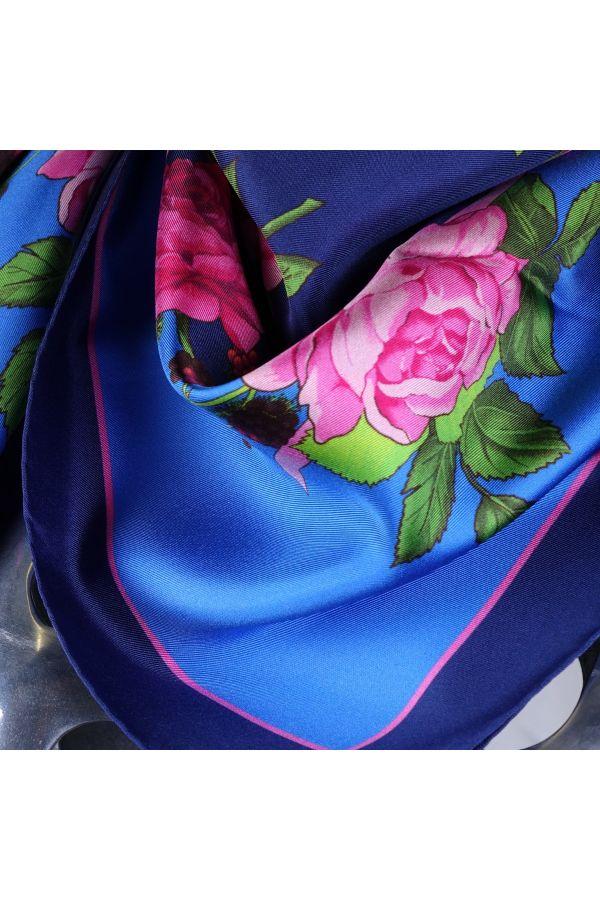 Foulard 100% pura seta FLOREALE - Blu
