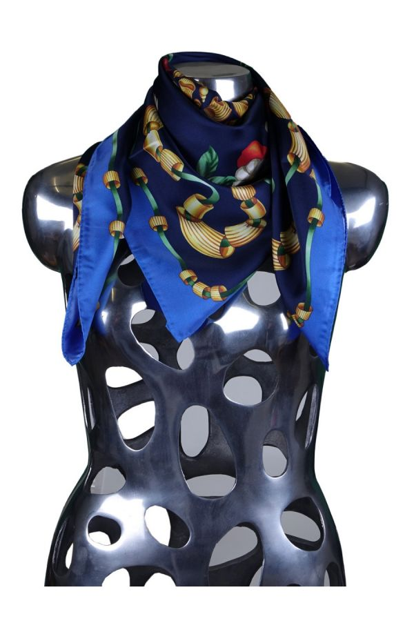 Foulard 100% pura seta PASTA - Blu