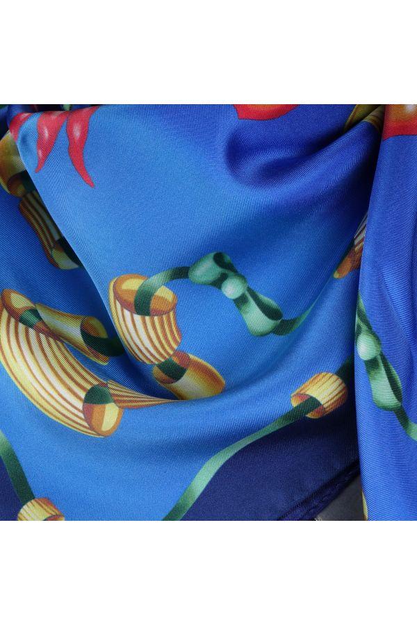 Foulard 100% pura seta PASTA - Blu/Celeste