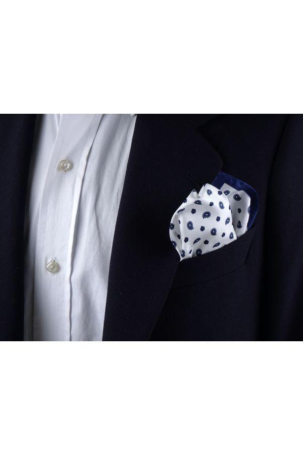 Fazzoletto da taschino 100% seta stampata GABRY - Bianco
