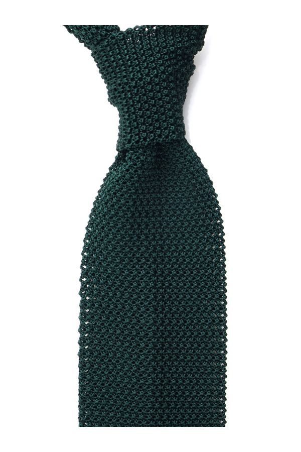 Woven silk knitted tie MACCA-Green