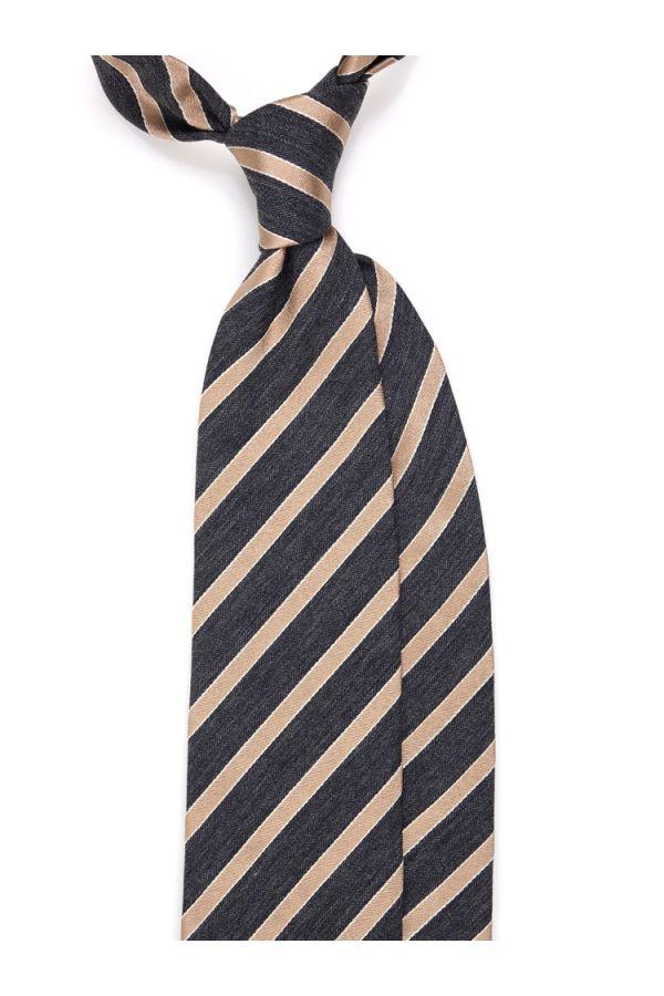 Cravatta 3 pieghe HOFUKU in seta/lana-Beige
