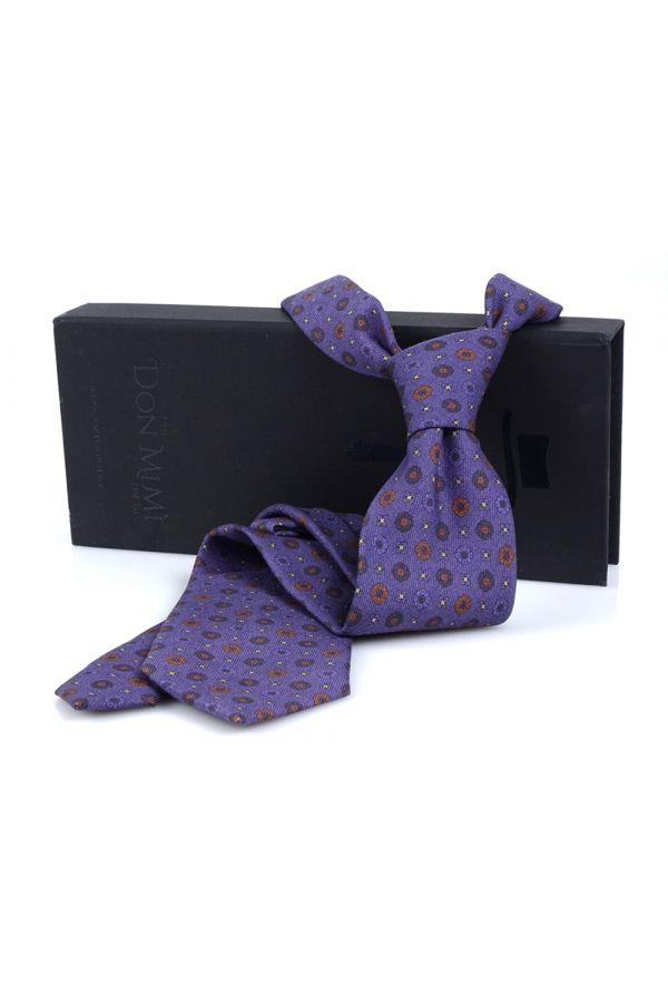 Cravatta 3 pieghe LANUSSA in lana stampata inglese - Viola