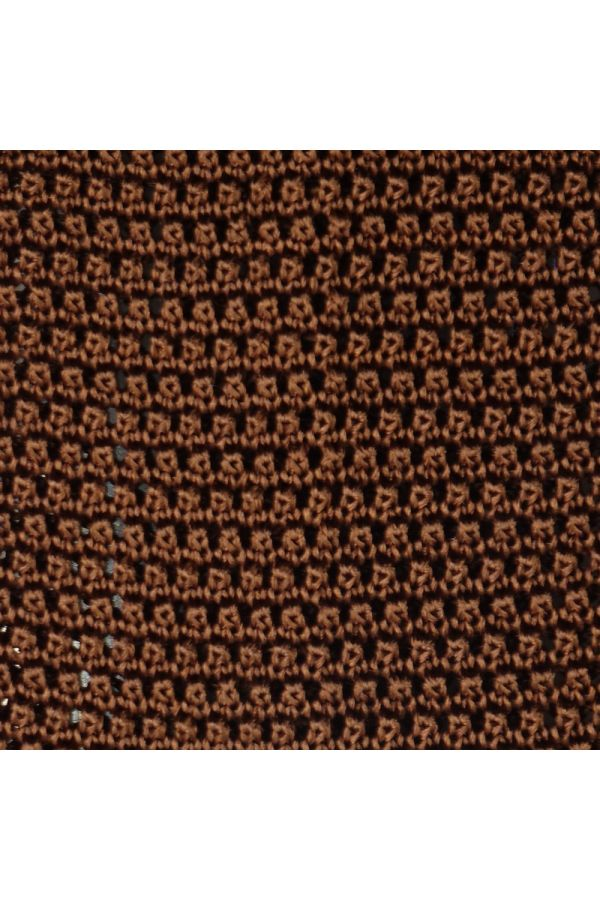 Woven silk knitted tie MACCA- Light Brown