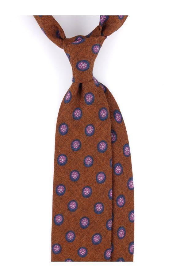 Cravatta 3 pieghe in flanella di lana LIVORNO-Marrone