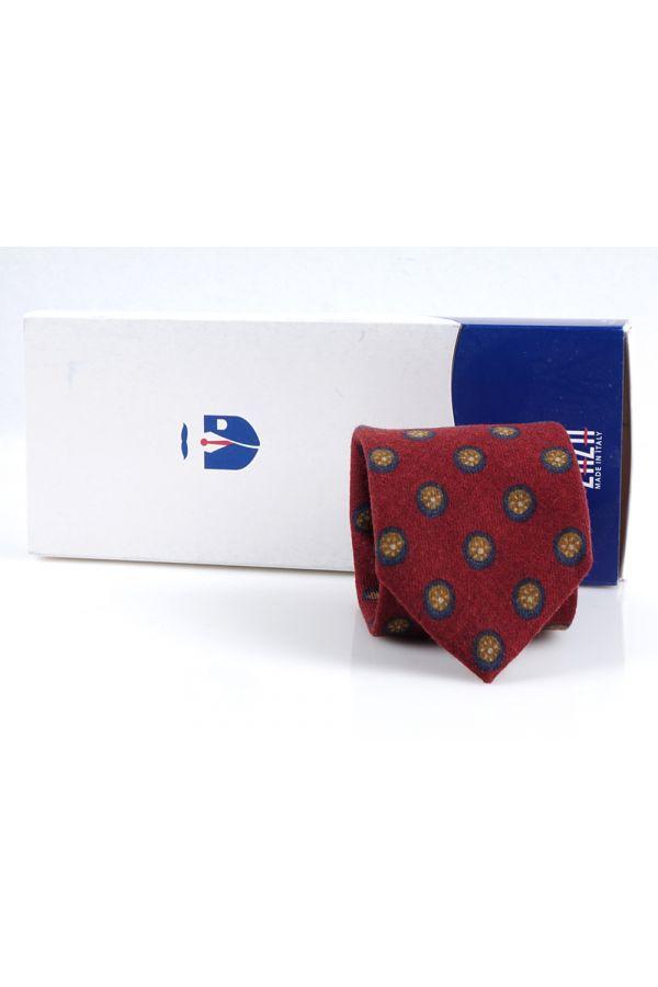 Cravatta 3 pieghe in flanella di lana LIVORNO-Rosso Scuro