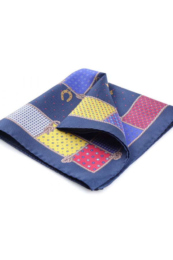 Printed silk pocket square LUCKY-Blue