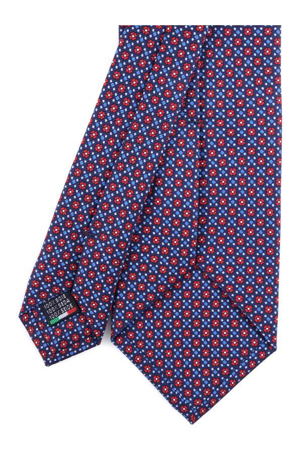 Cravatta 3 pieghe seta lusso stampata LX751- Blu
