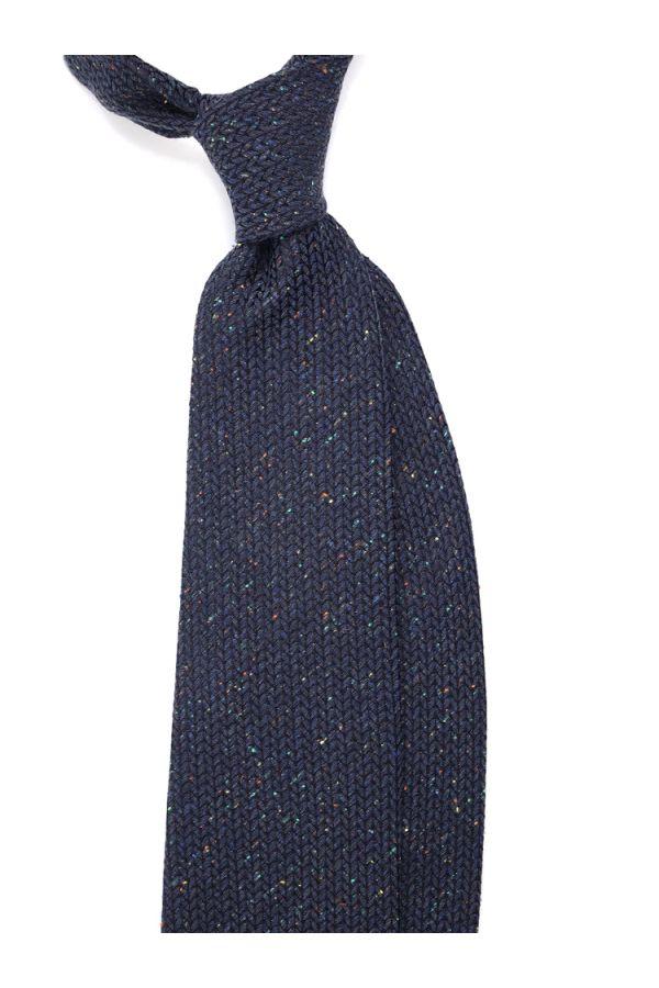 Cravatta 3 pieghe MAGLIA in lana - Blu Scuro