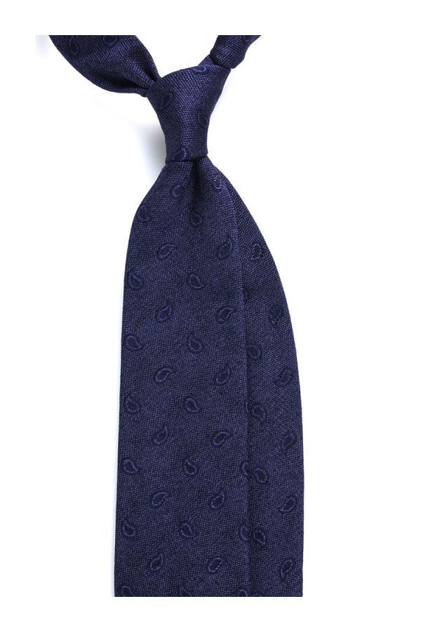 Cravatta 3 pieghe MALCO in seta - Blu