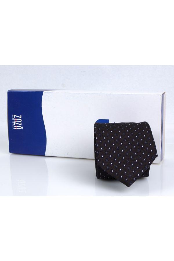 Cravatta 3 pieghe MANDORLA in seta - Marrone