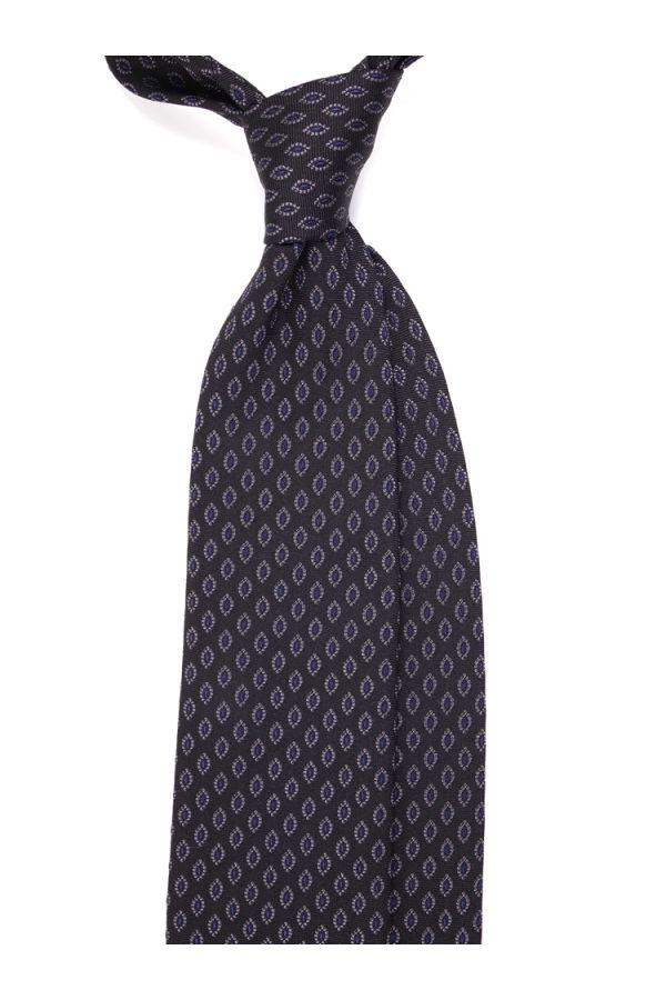 Cravatta 3 pieghe MANDORLA in seta tessuta - Grigio Scuro