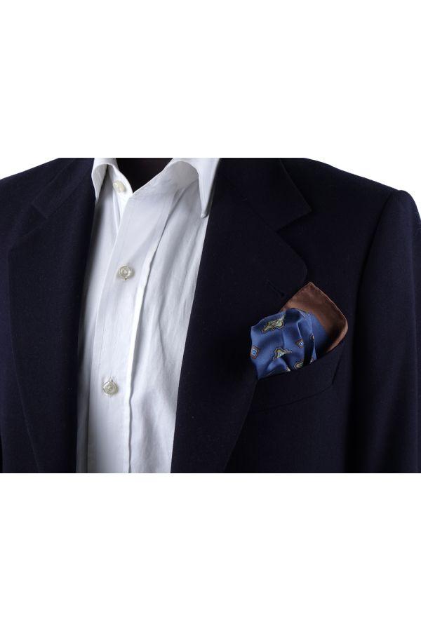 Fazzoletto da taschino 100% seta stampata MARTA - Blu