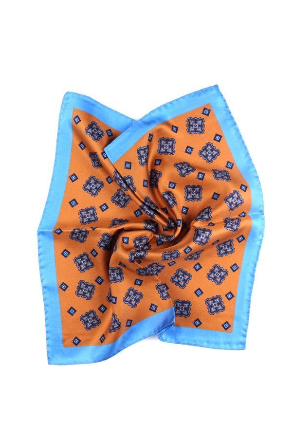 Fazzoletto da taschino 100% seta stampata MARTA - Arancione