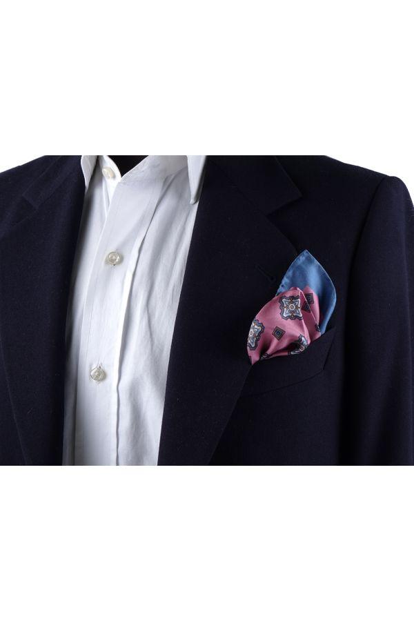 Fazzoletto da taschino 100% seta stampata MARTA - Rosa