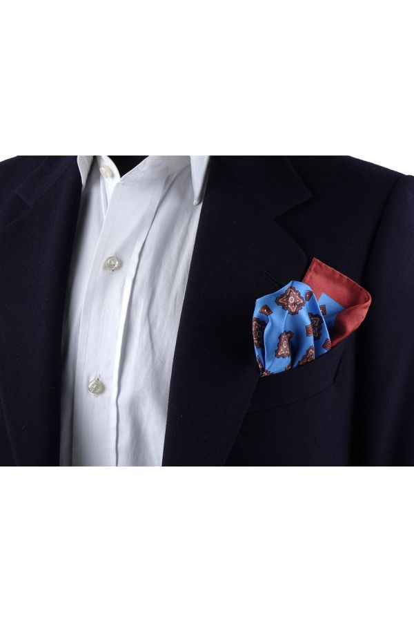 Fazzoletto da taschino 100% seta stampata MARTA - Celeste
