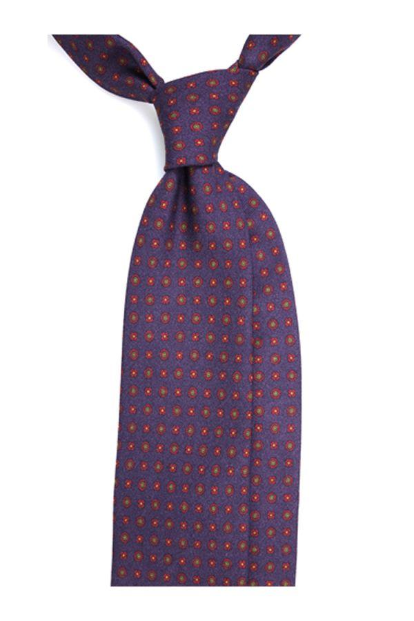 Cravatta 3 pieghe NUSSALA in lana stampata inglese - Viola