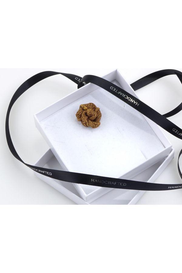 Button lapel flower ONICE - Grenadine silk-Light brown