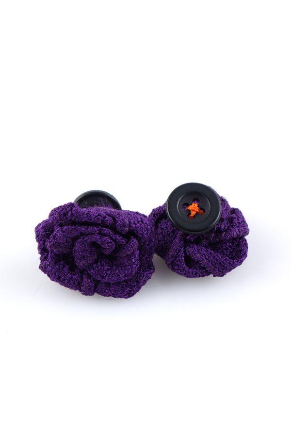 Button lapel flower ONICE - Grenadine silk-Purple
