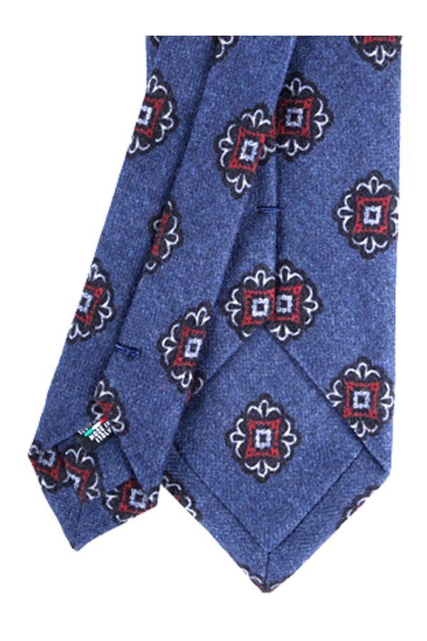 Cravatta 3 pieghe in flanella di lana PALERMO-Blu Avion