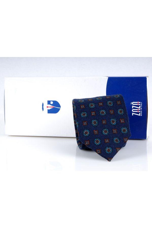 Cravatta 3 pieghe in flanella di lana PESCARA-Blu