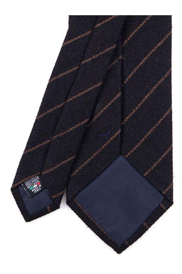 Cravatta 3 pieghe PISTRA in lana - Nero