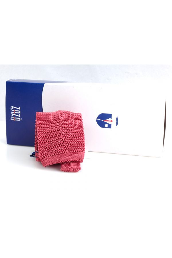 Woven silk knitted tie MACCA-Pink