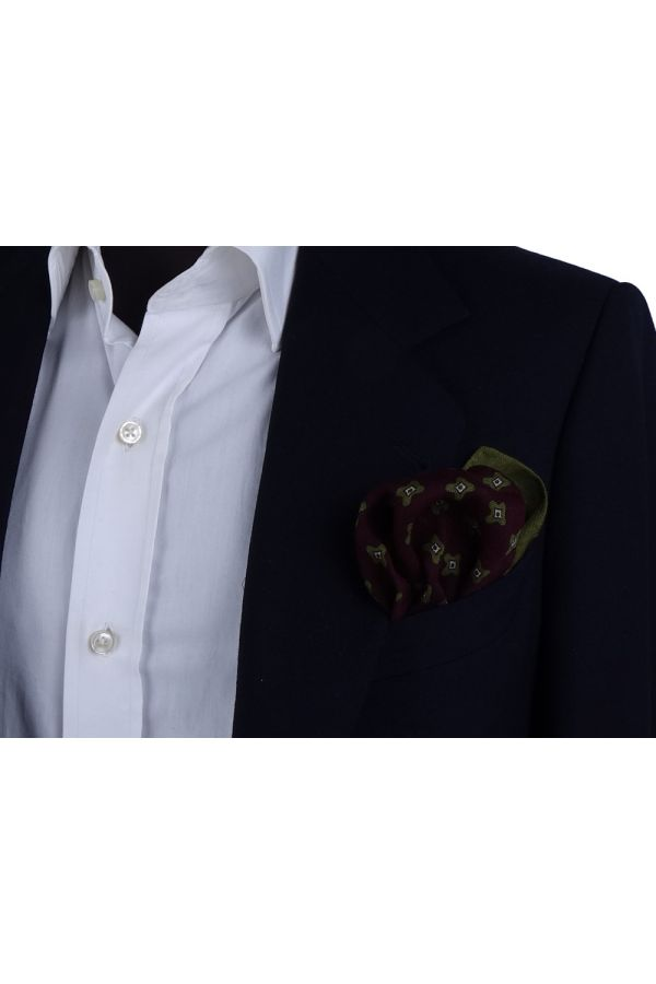 Wool Pocket Square EGG Burgundy