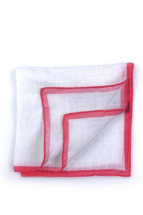Fazzoletto da taschino 70% cotone 30% lino UNITO - Corallo