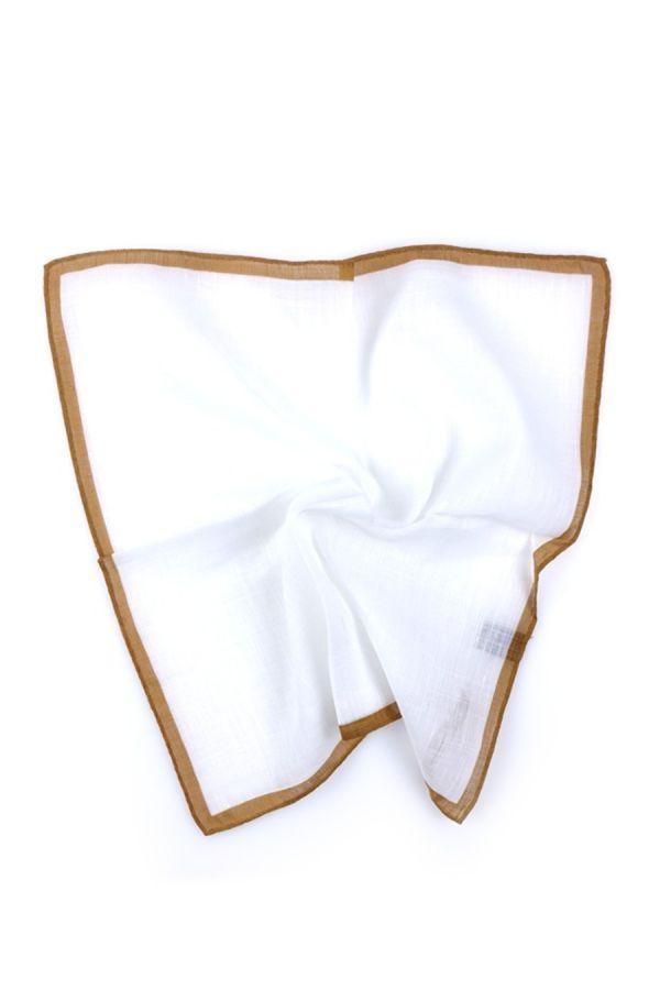 Fazzoletto da taschino 70% cotone 30% lino UNITO - Marrone Chiaro