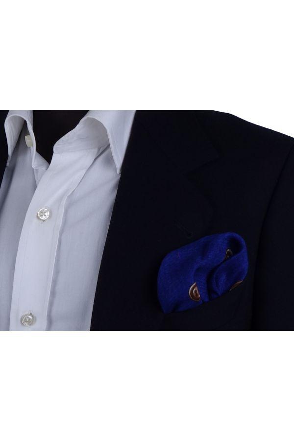 Fazzoletto da taschino in lana BUTTON - Blu elettrico