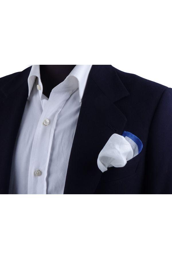 Fazzoletto da taschino 70% cotone 30% lino UNITO - Blu elettrico