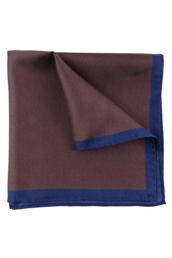 Fazzoletto da taschino marrone in seta stampata MARA