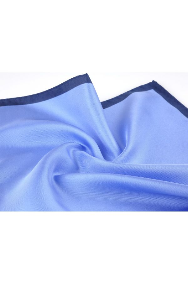 Printed silk pocket square MARA - Sky blue