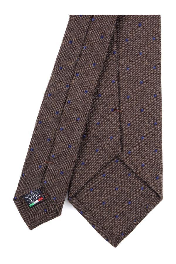 Cravatta 3 pieghe in seta tessuta POINTO- Marrone