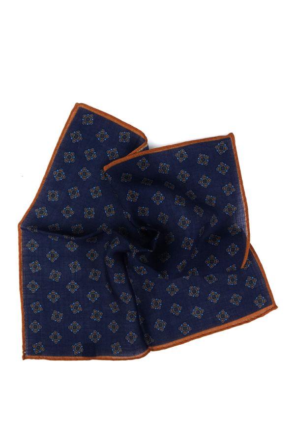 Fazzoletto da taschino RAME in lana Blu Scuro