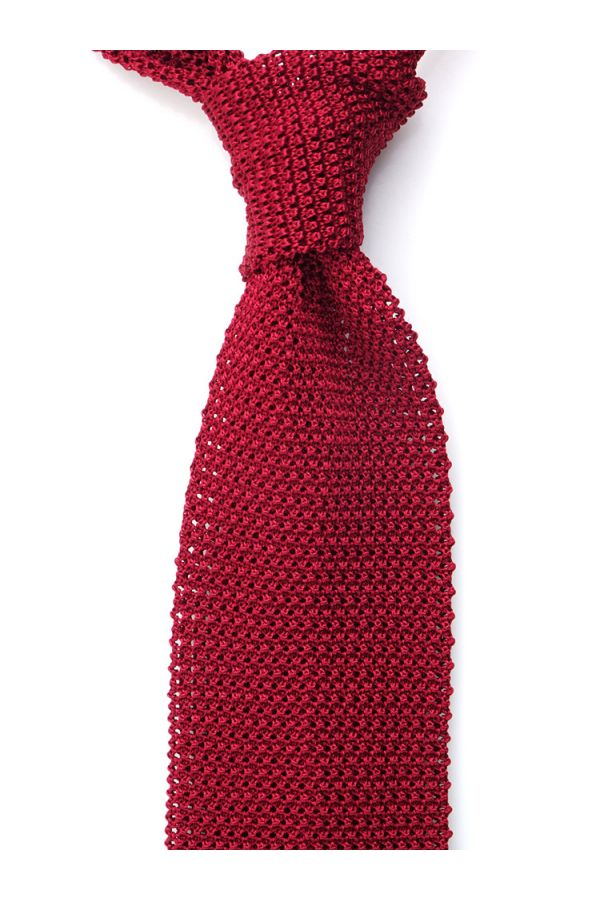 Woven silk knitted tie MACCA-Red