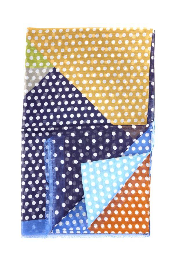 Sciarpa cotone/lino RING - Blu