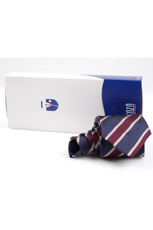 Cravatta 3 pieghe RINIA in seta tessuta-Blu/Rosso