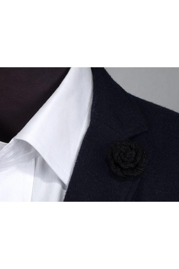 Spilla da giacca RUBINO - Garza di seta-Nero