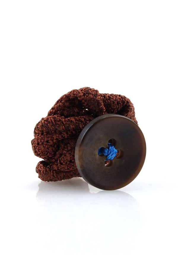 Button lapel flower RUBINO - Grenadine silk-Brown
