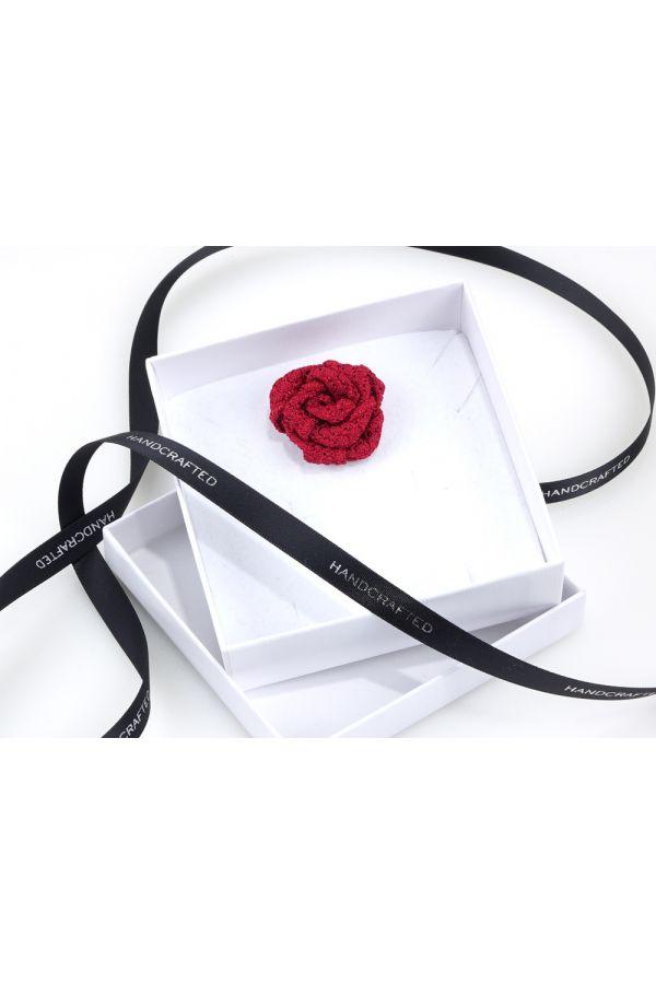 Spilla da giacca RUBINO - Garza di seta-Rosso Scuro