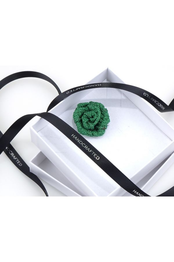 Spilla da giacca RUBINO - Garza di seta-Verde Chiaro