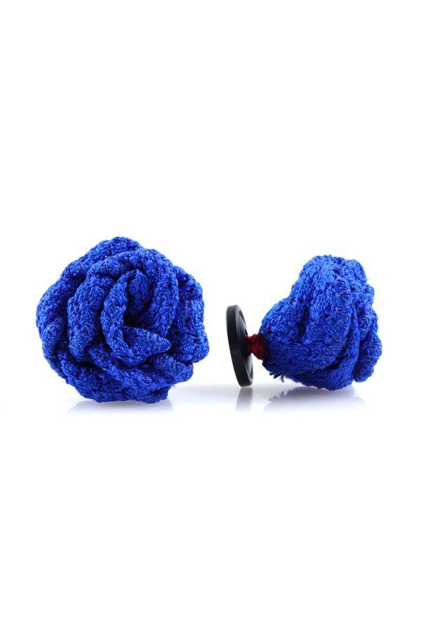 Spilla da giacca RUBINO - Garza di seta-Blu elettrico